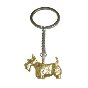 Gold Toned Textured Scottish Terrier Dog Keychain